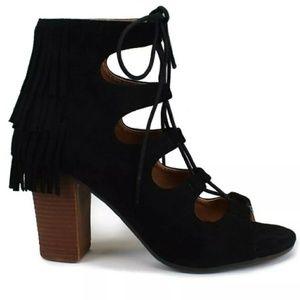 Mi.iM Shoes - Open Toe Black Color Fringe Stacked Heel Bootie